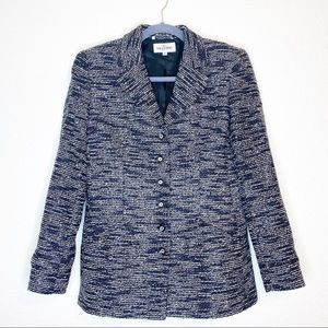 Valentino Metallic Black White Blazer Sz 10 Wool